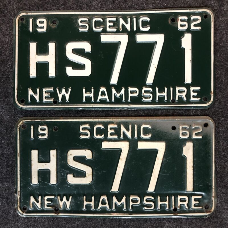 1962 New Hampshire License Plate Pair Nice Tags HS 771 NH YOM 62 Hillsboro