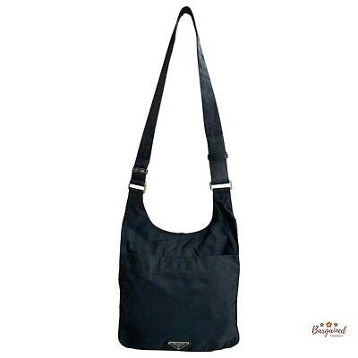 Authentic PRADA Vintage Black Nylon Tessuto Small Messenger Shoulder Bag