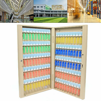 100 Keys Iron Safe Hook Key Box With Tag Lock Storage Box Cabinet Wall Mount