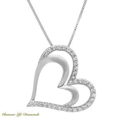 "0.40 Ct. Heart Brilliant Round Cut Solid 14K White Gold Pendant 16"" Necklace"
