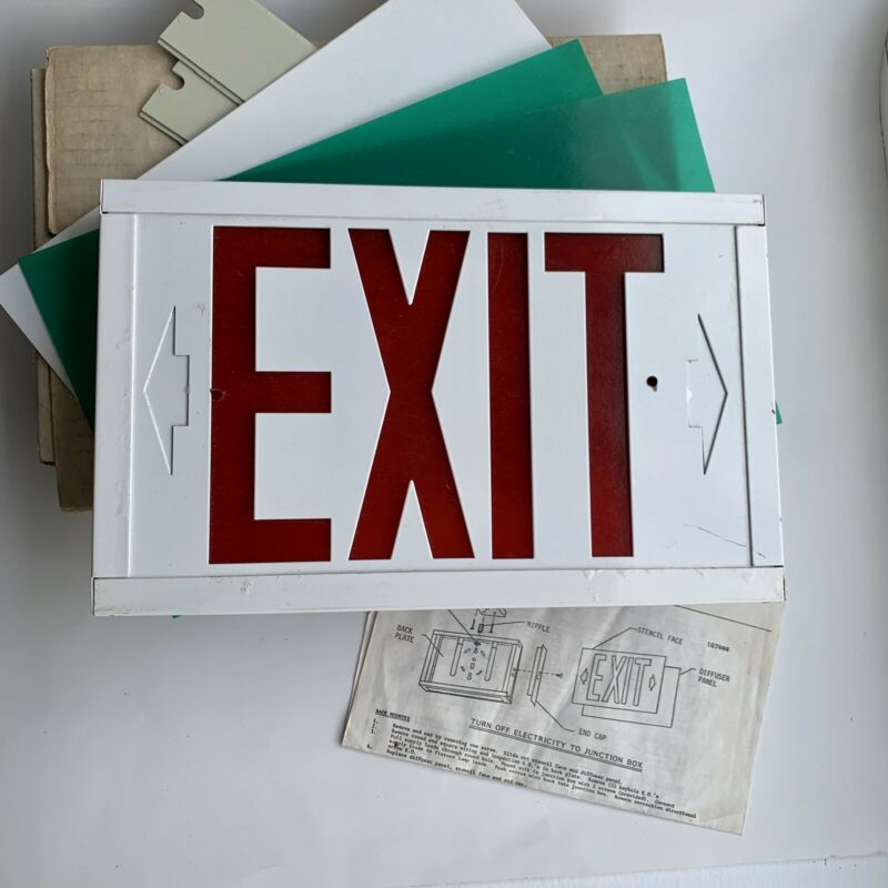 Retro Exit Sign Green or Red Stencil Face Black Finish Metal Case Greaybar Meter