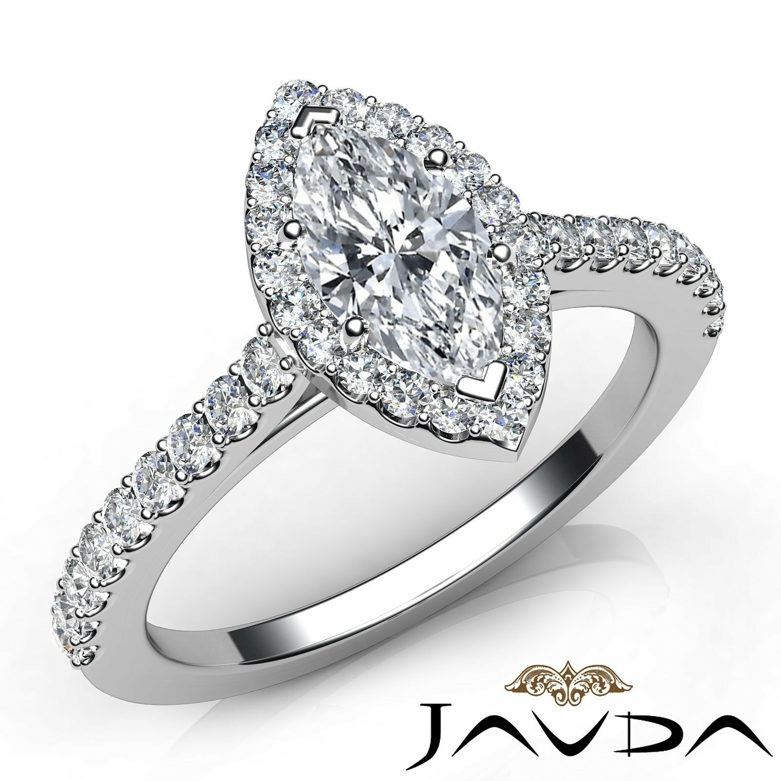 1.03ctw Halo Pave Side-Stone Marquise Diamond Engagement Ring GIA F-SI1 W Gold
