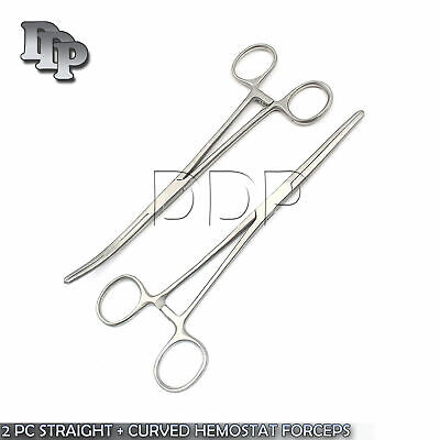 New 2pc Set 6 Straight Curved Hemostat Forceps Locking Clamps Stainless