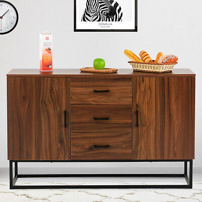 Modern Sideboard Buffet With 3 Drawers 2 Doors Storage Cabinet Console Table 2 Door Buffet