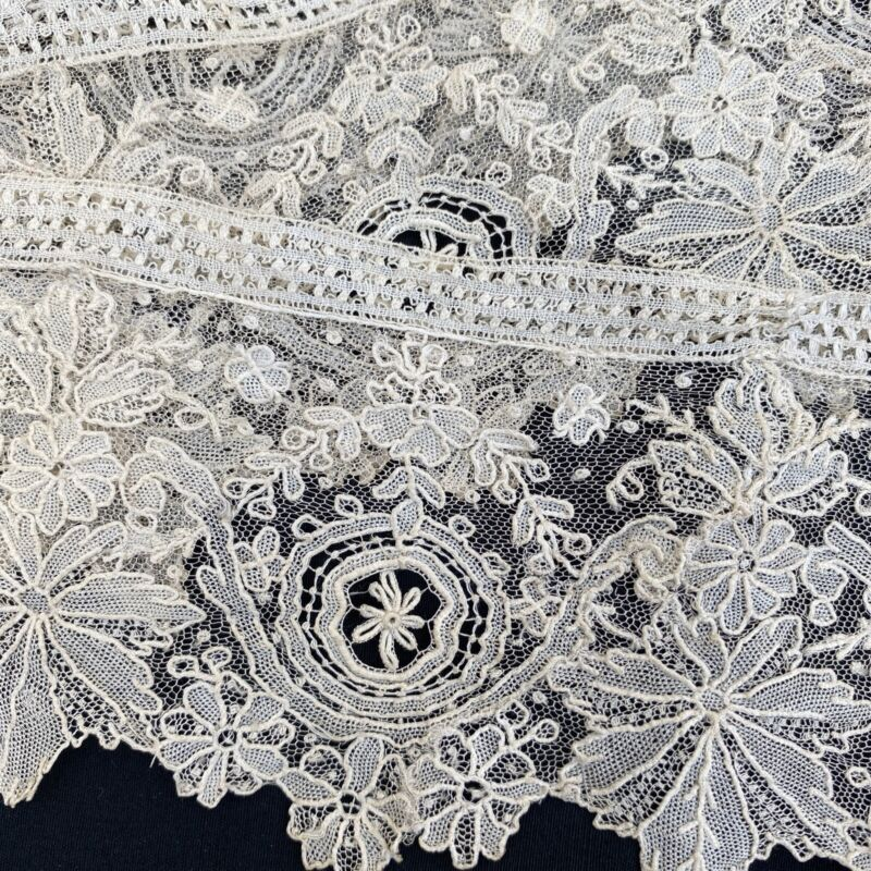 Exquisite Antique Brussels Lace Trim Point De Gaze Needle Lace Handmade 19th C