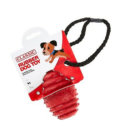 Red Large Solid Tough Hard Rubber Dog Rope Oval Ball Fetch Toys- Classic