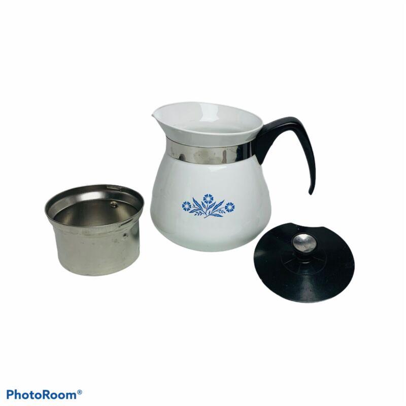 Vintage Corning Ware Kettle 2 Qt Quart 8 cup Coffee Tea Pot Cornflower Blue