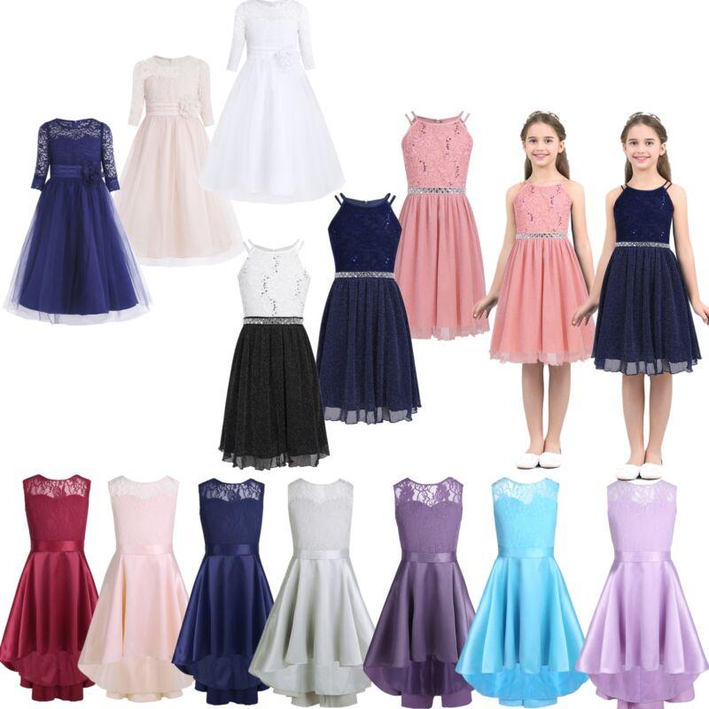 Kids Baby Flower Girls Party Lace Dress Wedding Bridesmaid Dresses Princess New