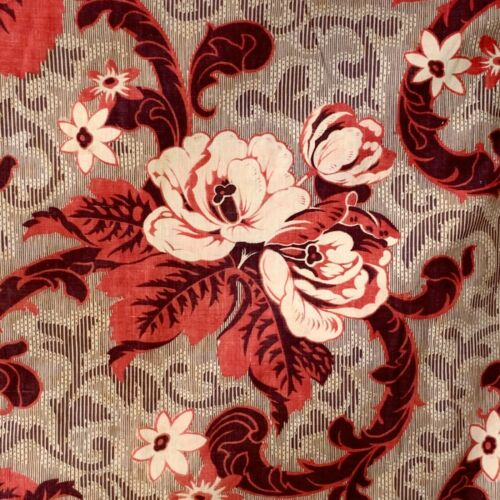 Valance Antique French long quilted madder print 1860 4-poster beg hanging 18 FT