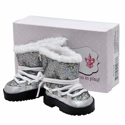 Купить The Queen's Treasures - Silver Lace Up Boots &Box, Fits 18 Inch American Girl Doll Clothes & Accessories