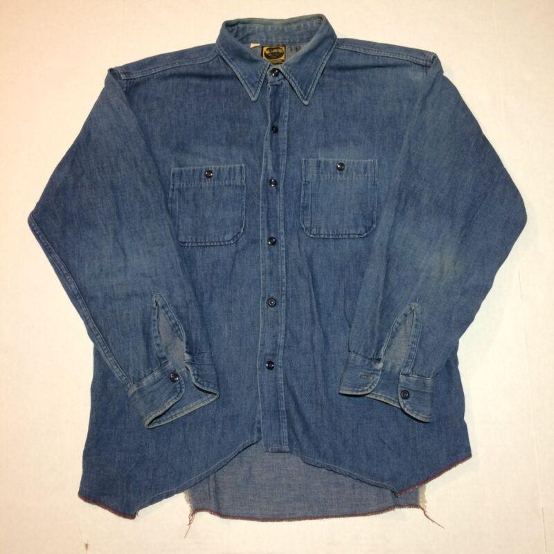 Vtg 50s Denim Shirt L Deecee Sanforized 60s