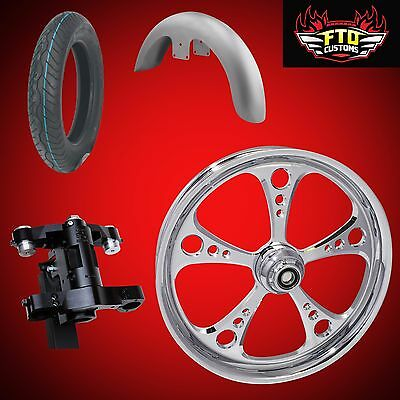 Harley 30 inch Front End Big Wheel kit, Wheel, Tire, Neck, Fender 3-Shot Chrome