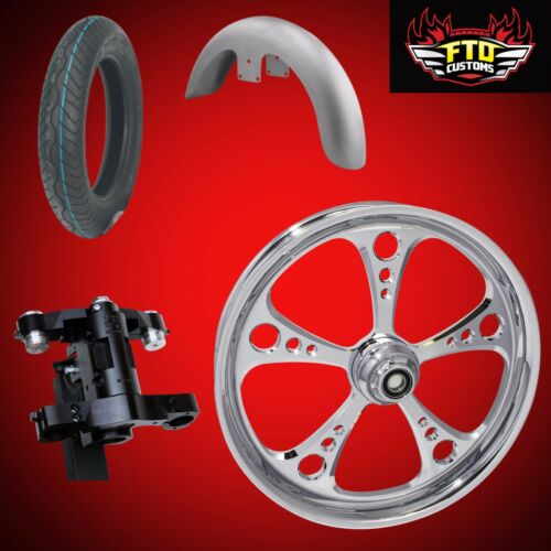 Harley 30 Inch Front End Big Wheel Kit, Wheel, Tire, Neck, Fender 3-shot Chrome