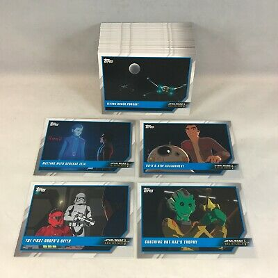 STAR WARS: RESISTANCE Disney ANIMATED SERIES Topps 2019 Complete Card Set (100)