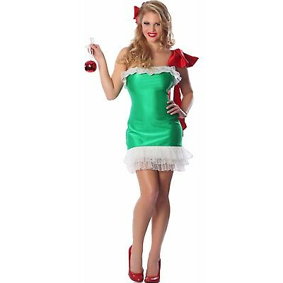 Christmas Gift Wrapped Sexy Adult Women's Costume (S/M or M/L) Green Dress -NEW