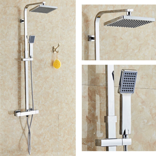 Thermostatic Exposed Shower Bar Mixer Valve Round Fixed Twin Head ...
