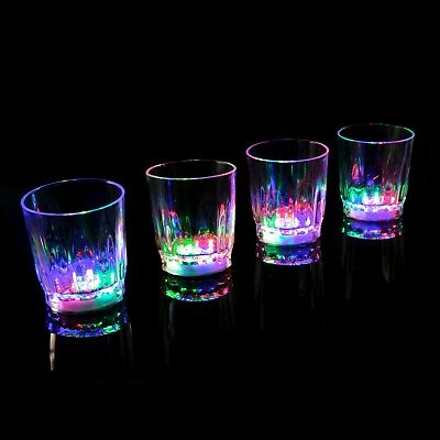 6 Plastic LED Flashing Shot Glasses Light Up Luminous Barware Party Wedding UK - Plastic Party Glassware