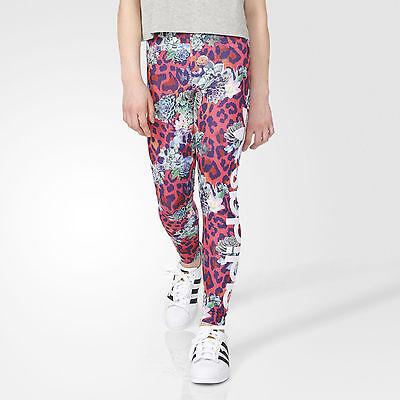 - Adidas ORIGINALS GIrls Leggings Pink French Terry Pants Floral Print Adidas NEW
