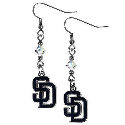 San Diego Padres MLB Crystal Dangle Earrings, Baseball Jewelry San Diego Padres Jewelry