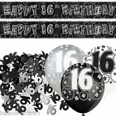Black Silver Glitz 16th Birthday Banner Party Decoration Pack Kit Set