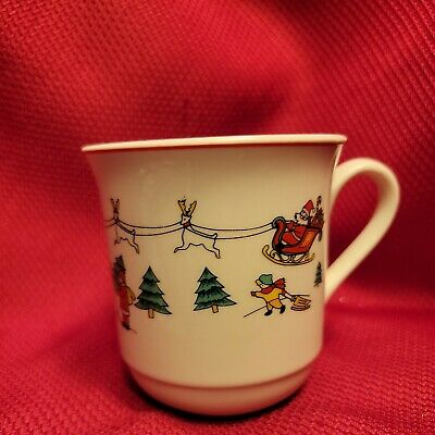 "vtg 4"" Coffee Cocoa CHRISTMAS MUG Santa Claus Sleigh Trees Cherubs STONEWARE gmt"