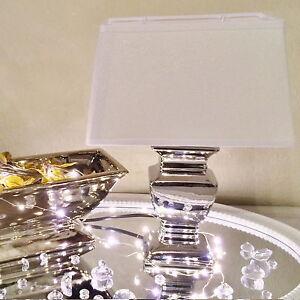 SILVER LADY 35 cm Tischlampe WEIß Silber Lampe Shabby Tischleuchte Keramiklampe