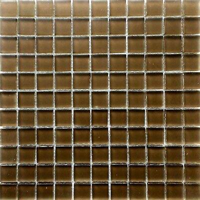 "1""X1"" Mocha Glass Mosaic Tile Matte Frosted Finish Backsplash Shower Wall Spa"