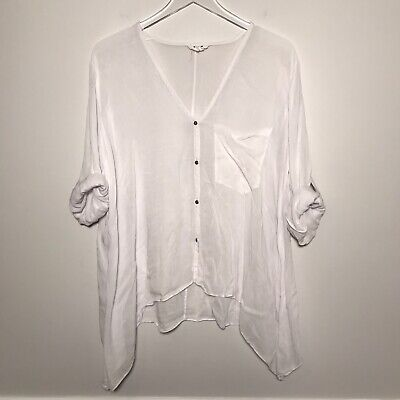 Helmut Lang Size M Long Sleeve Button Down Drape Relaxed Fit Blouse In White