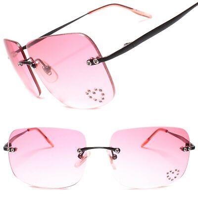 Gradient Pink Lens True Vintage Fashion Mens Womens Rimless Square Sunglasses Rimless Mens Lens
