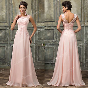 Vintage Style Long Formal Wedding Ball Gown Evening Party Prom Bridesmaid Dress