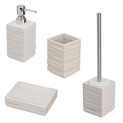 Set accessori bagno da appoggio in ceramica bianca e abs cromato linea Brik