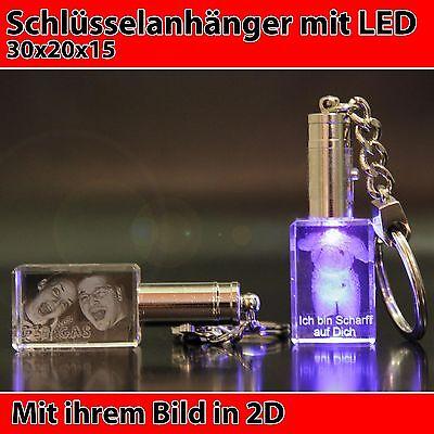 LED Schlüsselanhänger 2D Lasergravur Foto im Glas Geschenkidee zum Valentinstag