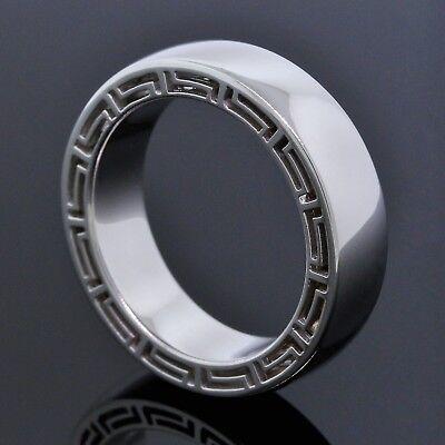 Versace Italy Logo V-Profile 18K White Gold Wide Men's Wedding Band Ring Size 10