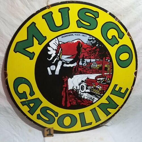 MUSGO GASOLINE 1927 Advertising porcelain enamel sign 42 Inches
