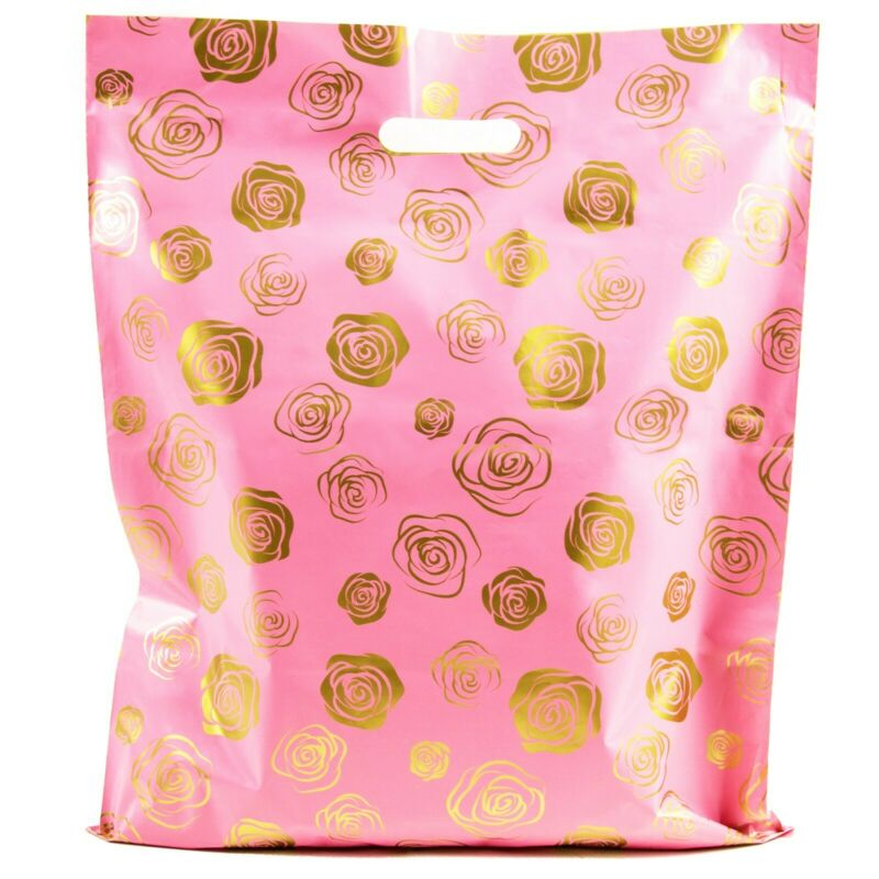 Shopping Bags Gold Roses -15x18 - Pack of 100