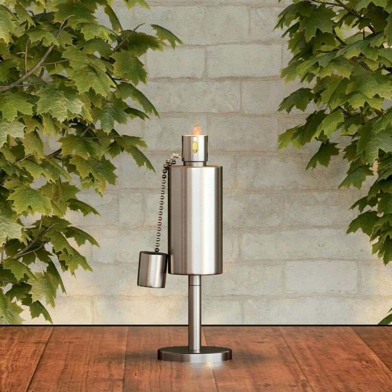 Torch Lamp Table Top Stainless Steel Outdoor Lighting Fuel Canister with Wick