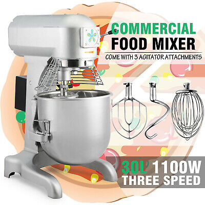 Food Mixer 3 Speed 30qt Mixing Dough Blender Pizza Bakery Processor Capacity 7kg