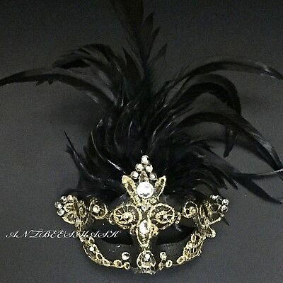 Venetian Exotic Crystal Decorated Feather Halloween Costume Night Party Mask