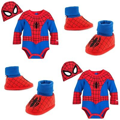 Disney Store Spider-Man Baby Bodysuit Costume Dress Up Shoes Booties - Spider Baby Costume