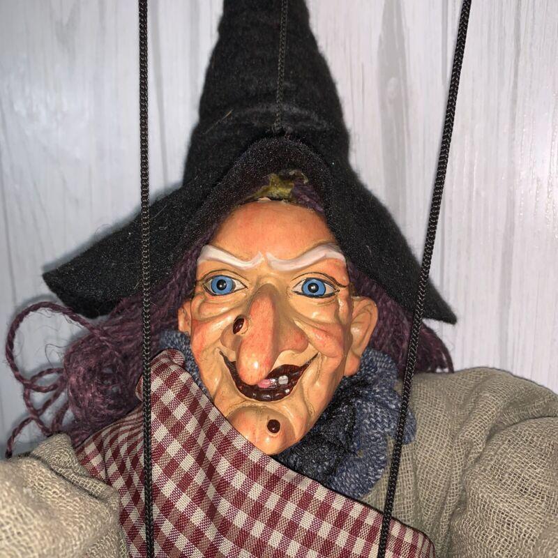 Vintage Witch Marionette Puppet Halloween Decor