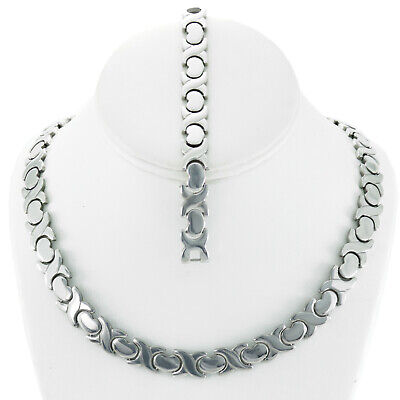 Hugs & Kisses 11mm Wide XOXO Necklace Bracelet Set Stainless Steel Stampato 18""