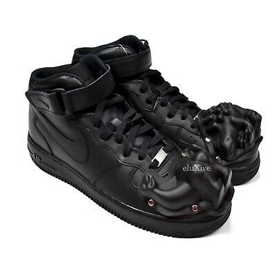 NWT Nike Comme des Garcons CDG Air Force 1 Dino Black Sneakers Mid 10 AUTHENTIC