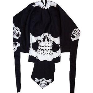 Mens Black Skull Biker Zandana Head Bandana Doo Dew Do Du Rag Durag Hair Hat Cap