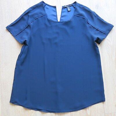 NEW KENNETH COLE Short Sleeve Silky Blouse Shirt Navy Blue Medium UK 12/14 £65