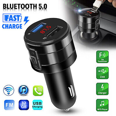 Wireless Bluetooth 5.0 Car FM Transmitter Music Player AUX Radio 2 USB Charger