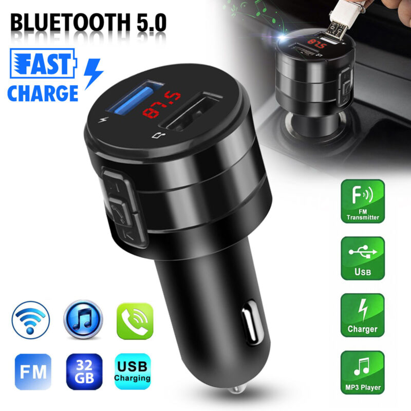 Wireless Bluetooth 5.0 Car FM Transmitter Music Player AUX Radio USB Charging