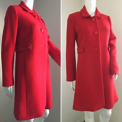 TALBOTS Coat Size 4 Red Wool Lined A-Line Classic Trench 3/4 Length Pockets