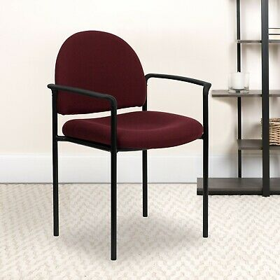 Office Reception Guest Chair Bonded Fabric Padded Armrest Steel Side Burgundy