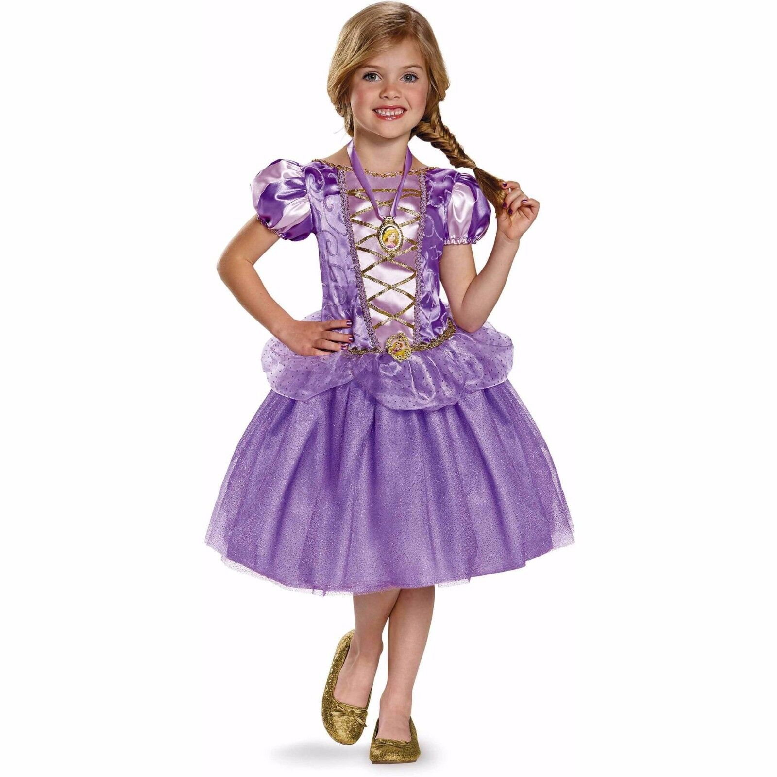 Disney Rapunzel Costume Girls Child Kids Purple Dress Rapunzle 4-6 7-8 Halloween