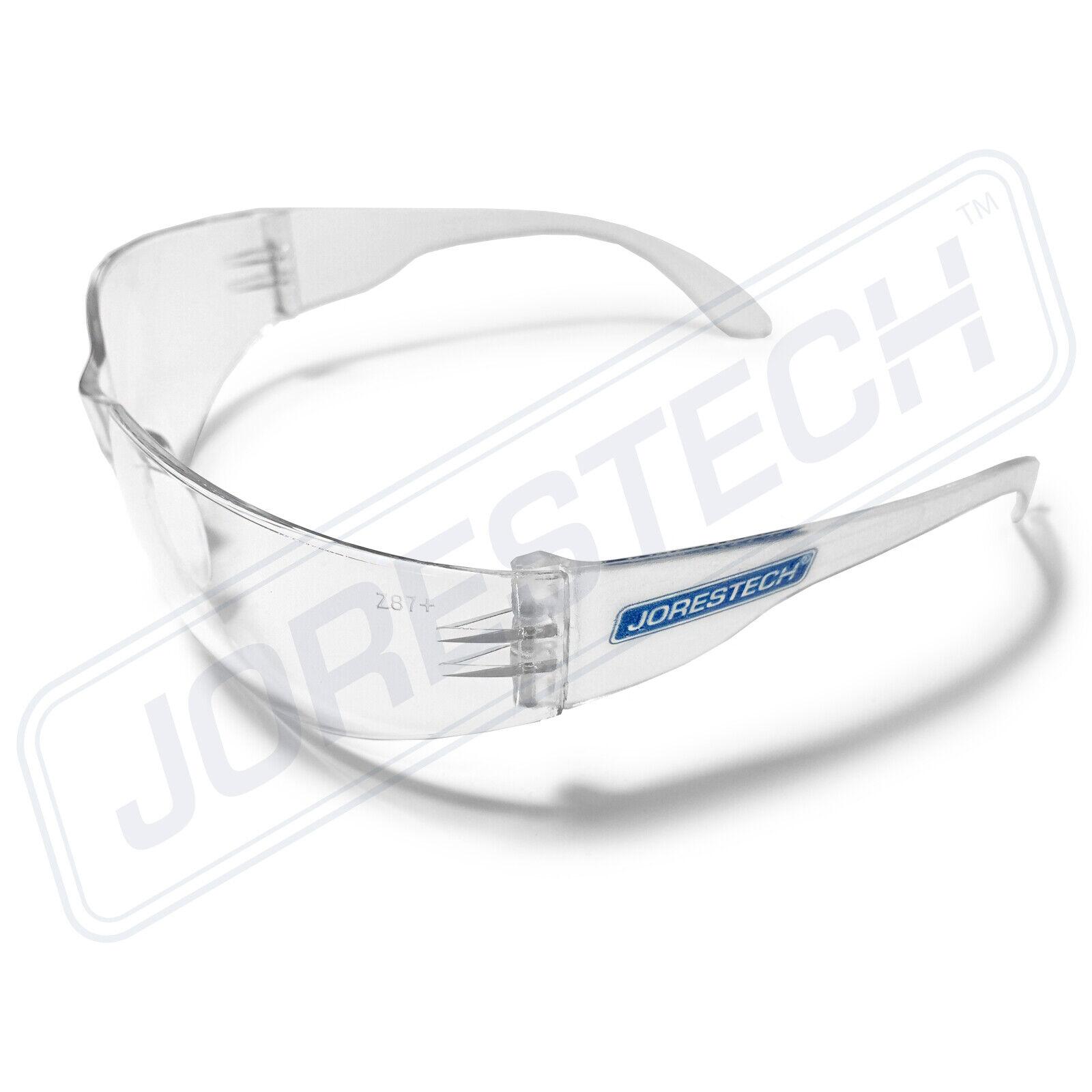 12 PAIR JORESTECH CLEAR UV LENS LOT SAFETY GLASSES BULK NEW 12 PAIRS